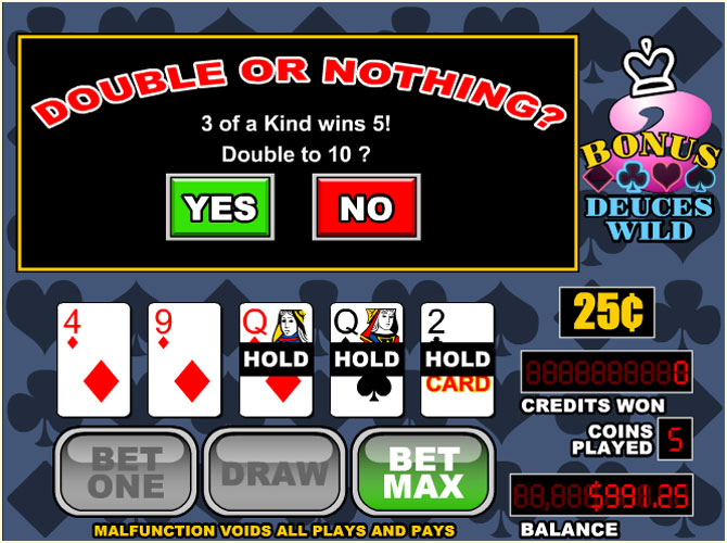 free online video poker deuces wild